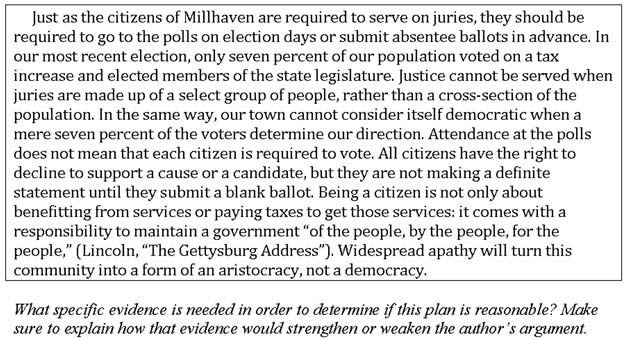 sample essay analyze an argument response in this passage the author argues that voting in millhaven should be mandatory and bases that argument on data from one recent election